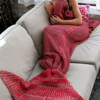 Children Adult Keep Warm - Knitted Sofa Bedding Mermaid Blanket with Tail - Home Winter Spring +Christmas Gift Necklace