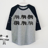 Elephants graphic art children raglan shirt for kids toddlers boys girls clothing size S M L XL