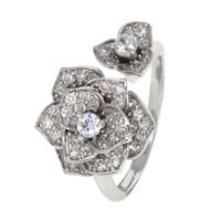 Dear Deer White Gold Plated Floral CZ Cocktail Ring