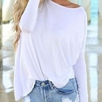 Bamboo Piko White Long Sleeved T-Shirt Loose Slouch Boat Neck Classic Soft
