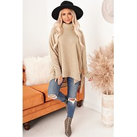 On My Own Path Cowl Neck Tunic Top (Taupe)