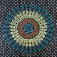 Handicrunch Peacock Feather Pattern Indian Tapestry - Beach Sheet - Hanging Wall Art (60X90 inches)