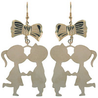 """1.75 x 2.5"""" Kissin' Cousins with Bow Earrings, GPE, USA!"""
