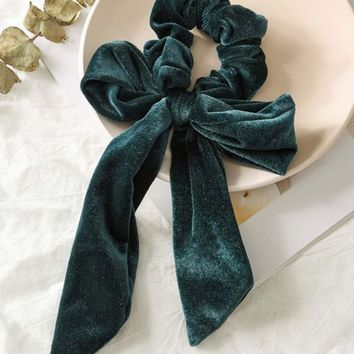 Velvet Scrunchie in Forest