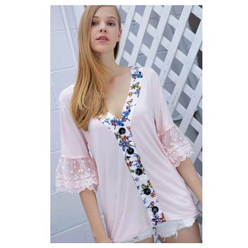 Crazy CLOSEOUT! Adorable Me! Ruffled Lace Sleeve Pink Top