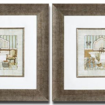 2 Framed Prints - Bathroom Themed Prints Under Glass Over Ivory Mats With Textured Effect