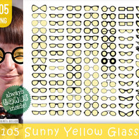 105 PNG Sunny Yellow Glasses Clipart, glasses, glasses clipart, glasses clip art, sunglasses clipart, spectacles, eyeglasses, specs