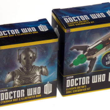 Set of 2 Doctor Who BBC Cyberman Bust 11th Dr Sonic Screwdriver Lights Sounds
