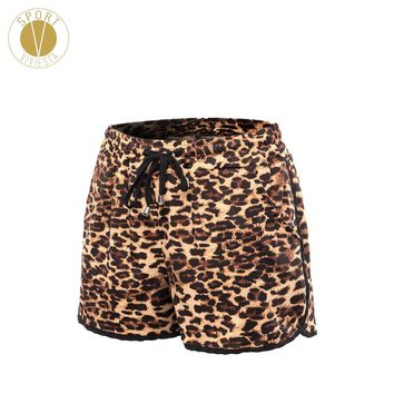Leopard Print Drawcord Sports Shorts - Women's Training Running Gym Outdoor Stylish Cheetah Elastic Stretch Fit Shorts Plus Size