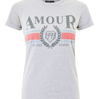 'Amour' Slogan T-Shirt - Clothing