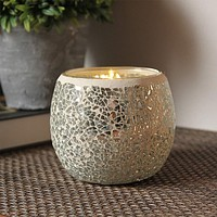 Set of 2 Mosaic Glass Glittery Geometric Silver Chip Candle Holders