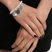 Silver Charm Beaded Stretch Bracelet