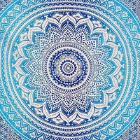 Jaipurhandloom Indian Mandala Ombre Blue White Bohemian Boho Large Throw Bed Sheet Wall Hanging Tapestry Queen Size Tapestry