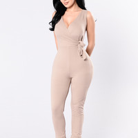 Side Tie Jumpsuit - Mocha