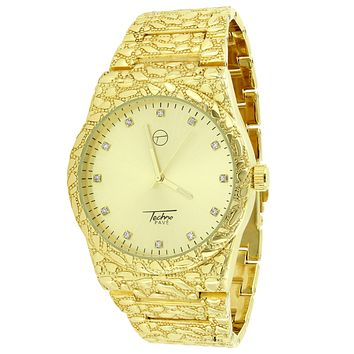 14k Yellow Gold Finish Mens Gold Nugget Style Mens Watch