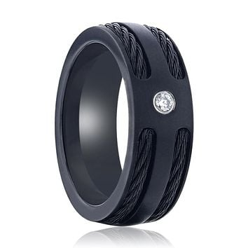 NOIR Double Black Rope Inlaid Brushed Matte Black Titanium Men's Wedding Band With Black Edge Channel Setting And White Diamond In The Center - 8mm