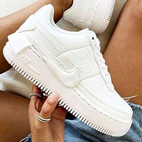 Nike Air Force 1 AF1 JESTER Transformed Crooked Sneakers Flat Shoes Full White