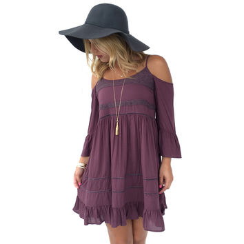 Set Free Open Shoulder Dress In Plum