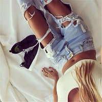 2074 New 2017 High Waist Jeans Ladies Cotton Denim Pants Stretch Womens Bleach Ripped Jeans Skinny Jeans Denim Hole Jeans