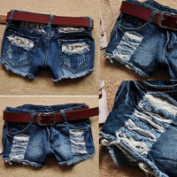 Retro Women Girls Low Waist Ripped Flange Hole Wash White Jean Denim Shorts 7_S SV002873 = 1916886852