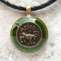aries necklace: green - mens necklace - mens jewelry - astrology - boyfriend gift - zodiac - birthday gift - leather cord - unique gift