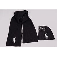 Polo Men's and women's fashion accessories winter warm scarf cover hat two-piece
