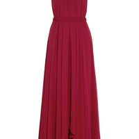Saloni - Irina pleated chiffon maxi dress
