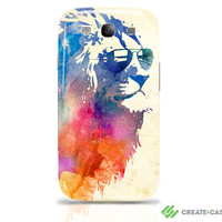 """Samsung Galaxy s3 i9300 - Artist Designed case / cover / shell - """"Sunny Leo"""" - colorful cool lion"""