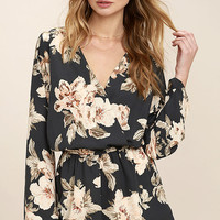 Prairie Daydream Washed Navy Blue Floral Print Romper