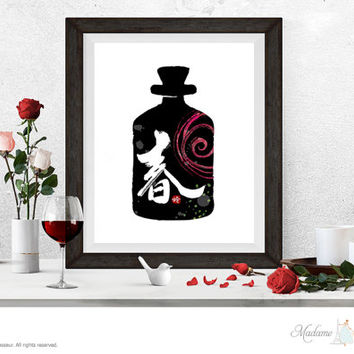 spring 春 printable art calligraphy art Chinese calligraphy spring Chinese printable art bottle art prints instant download restaurant decor