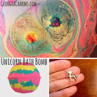 Unicorn Surprise CHARM XL Bath Bomb - Unicorn Bath Bombs // Surprise Bath Bomb // Jewelry Bath Bomb // Rainbow Bath Bomb // Gift for Her