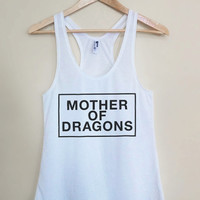 Mother of Dragons - Pop Culture Reference Lyrics White Racerback Womens Tank Top - Sizes - Small Medium Large