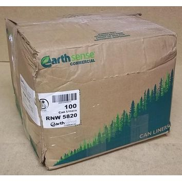 Earthsense Garbage Can Liners 55-60gal Box of 100 RNW 5820 * Plastic  -- New