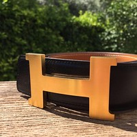 HERMES MEN'S GOLD BELT REVERSIBLE BLACK /BEIGE Tagre™