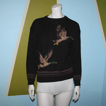 Vintage 80s 90s MALLARD DUCK Wool SWEATER / Black Novelty Pullover Knit / Maroon, Green, Tan Crew Neck / Kitschy Bird / Preppy, Golf / S M