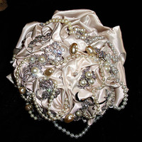 Champagne Bridal brooch bouquet, custom made,many styles and designs, all at reasonable prices