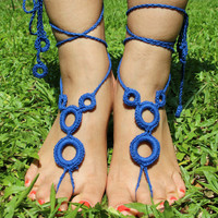 HaHandmade Knitting Hollow Out Ethnic Anklet Bracelet Crochet Barefoot Sandals Foot Jewelry Accessory Gift-14