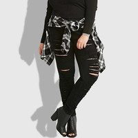 2016 summer fall new women 5XL plus size pencil jeans high stretch skinny black long denim pants with hole SP2075
