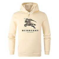 BURBERRY Autumn Winter Fashion Women Men Casual Print Long Sleeve Sweater Sweatshirt Hoodie Beige&Yellow