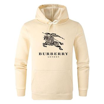 Burberry Autumn And Winter New Fashion Letter War Horse Print Women Men Hooded Long Sleeve Sweater Apricot