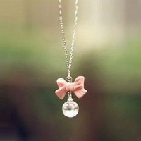 Buyinhouse Girls Ladies Fashion Necklace Casual Feeling Adorable Cute Pink Bowtie Bowknot Pearl Gemstones Rhinestone Pendant Long Style Necklace