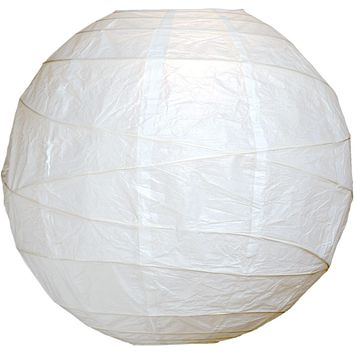 "BULK PACK (100) 6"" White Round Paper Lantern, Crisscross Ribbing, Chinese Hanging Wedding & Party Decoration"
