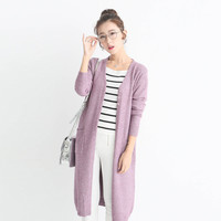 Petite Solid Color Korean Long Style Knit Cardigan Sweater