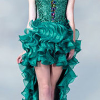 Teal Beaded Strapless Ruffled High-Low Dress 2015 Prom Dresses
