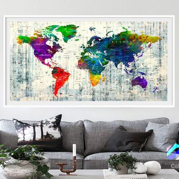 XL Poster Push Pin World Map travel Art Print Photo Paper watercolor Wall Decor Home Office (frame is not included) (P14) FREE Shipping USA!