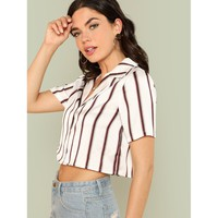 Striped Print Crop Shirt
