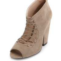 Chunky Lace-Up Peep Toe Ankle Bootie by Charlotte Russe - Taupe