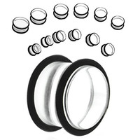 Big Gauges kit 12 Pieces Clear Plugs with Black O-Rings big gauge, 12mm,14mm,16mm,18mm,20mm - 6 Pairs