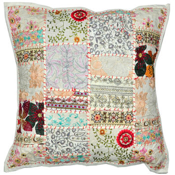 24X24 XL White Decorative Accent Pillow, Gypsy Throw Pillow for Couch, Boho Patchwork pillow, Ethnic Indian Pillow, Cottage Pillow, Antique