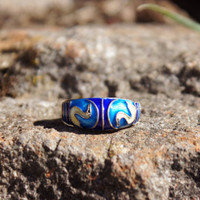 Art Deco, Chinese Export Enamel  Ring with Swans
